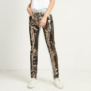 French Connection May Sequin Mix Skinny Jeans Pant